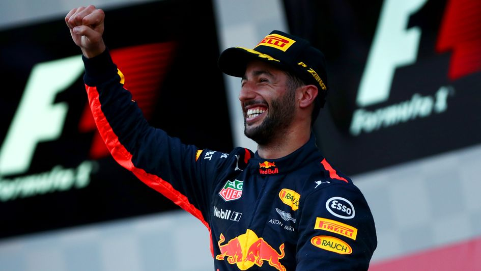 Red Bull's Daniel Ricciardo greeted unexpected win in Azerbaijan with giggles